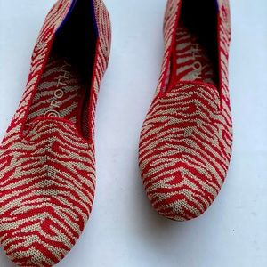 Rothys red zebra loafers